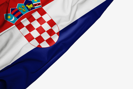 Croatia flag of fabric with copyspace for your text on white background
