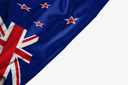 New Zealand flag of fabric with copyspace for your text on white background Stock Photo