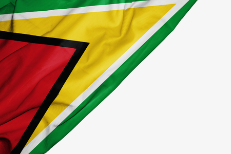 Guyana flag of fabric with copyspace for your text on white background