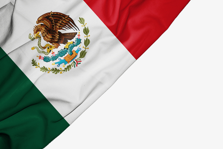 Mexico flag of fabric with copyspace for your text on white background
