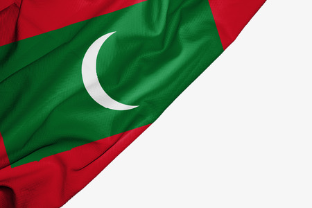Maldives flag of fabric with copyspace for your text on white background Stock Photo