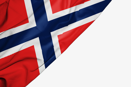 Norway flag of fabric with copyspace for your text on white background