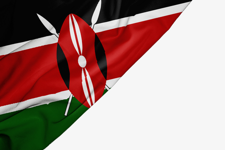 Kenya flag of fabric with copyspace for your text on white background Stock Photo