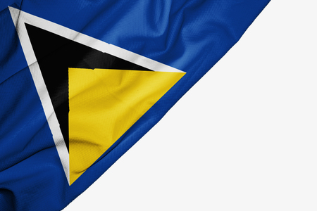 Saint Lucia flag of fabric with copyspace for your text on white background Stock Photo