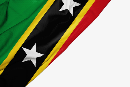 Saint Kitts and Nevis flag of fabric with copyspace for your text on white background