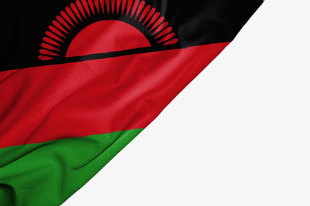 Malawi flag of fabric with copyspace for your text on white background