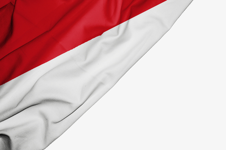 Monaco flag of fabric with copyspace for your text on white background Stock Photo