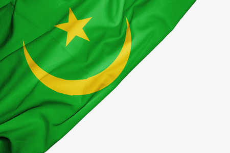 Mauritania flag of fabric with copyspace for your text on white background