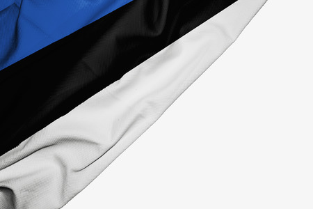 Estonia flag of fabric with copyspace for your text on white background