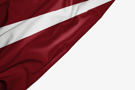 Latvia flag of fabric with copyspace for your text on white background