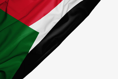 Sudan flag of fabric with copyspace for your text on white background