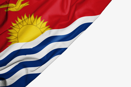 Kiribati flag of fabric with copyspace for your text on white background Stock Photo