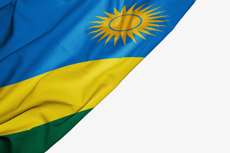 Rwanda flag of fabric with copyspace for your text on white background Stock Photo