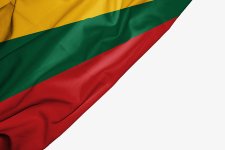 Lithuania flag of fabric with copyspace for your text on white background
