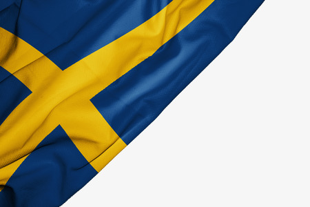 Sweden flag of fabric with copyspace for your text on white background