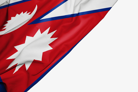 Nepal flag of fabric with copyspace for your text on white background