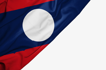 Laos flag of fabric with copyspace for your text on white background Stock Photo