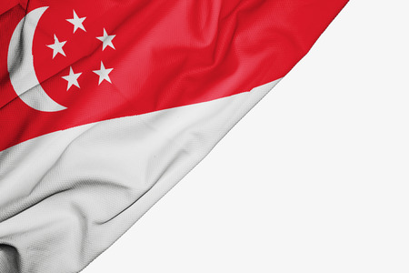 Singapore flag of fabric with copyspace for your text on white background