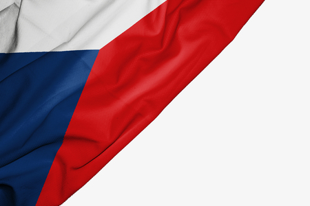 Czech Republic flag of fabric with copyspace for your text on white background