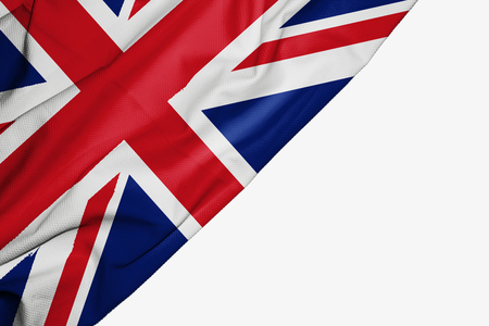 United Kingdom flag of fabric with copyspace for your text on white background Stock Photo
