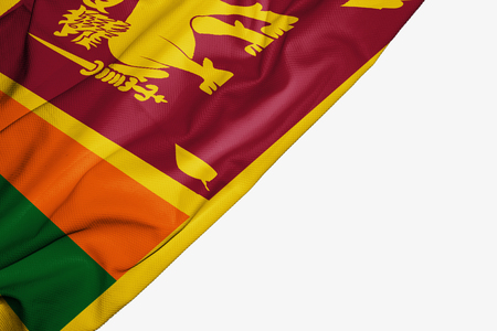Sri Lanka flag of fabric with copyspace for your text on white background Stock Photo