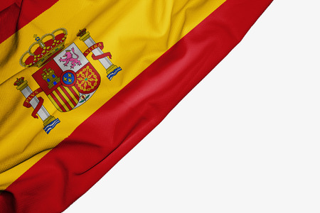 Spain flag of fabric with copyspace for your text on white background Stock Photo