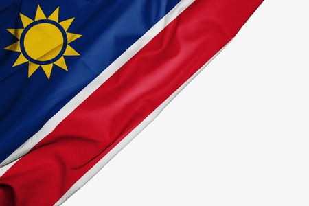 Namibia flag of fabric with copyspace for your text on white background
