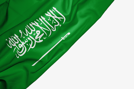 Saudi Arabia flag of fabric with copyspace for your text on white background