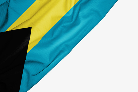 Bahamas flag of fabric with copyspace for your text on white background