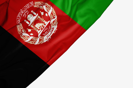 Afghanistan flag of fabric with copyspace for your text on white background