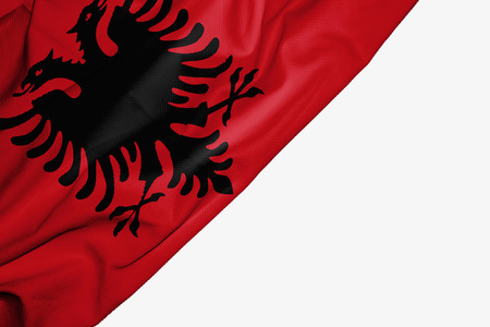 Albania flag of fabric with copyspace for your text on white background