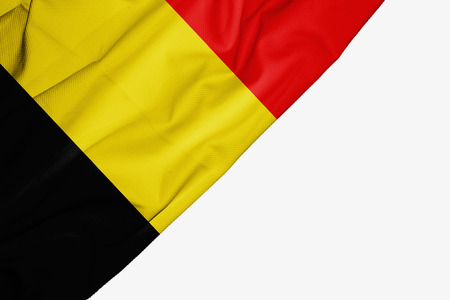 Belgium flag of fabric with copyspace for your text on white background