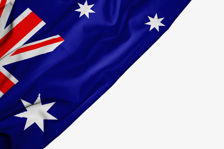 Australian flag of fabric with copyspace for your text on white background