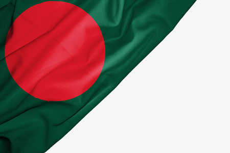 Bangladesh flag of fabric with copyspace for your text on white background Stock Photo