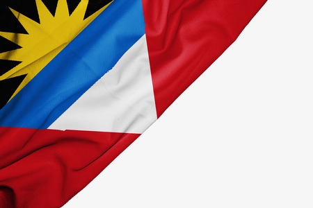 Antigua and Barbuda  flag of fabric with copyspace for your text on white background