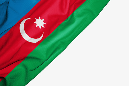 Azerbaijan flag of fabric with copyspace for your text on white background