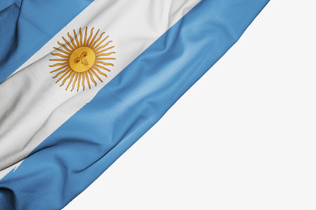 Argentina flag of fabric with copyspace for your text on white background