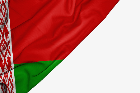 Belarus flag of fabric with copyspace for your text on white background