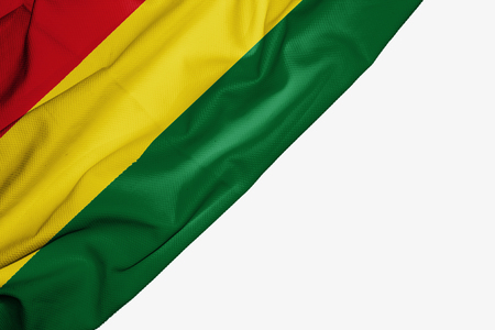 Bolivia flag of fabric with copyspace for your text on white background Stock Photo