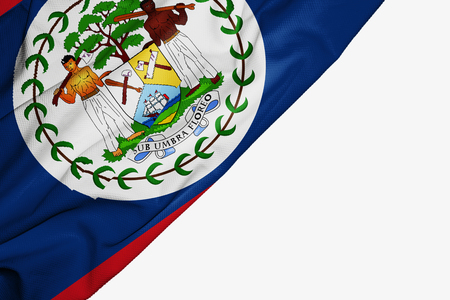 Belize flag of fabric with copyspace for your text on white background
