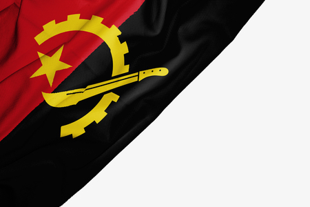 Angola flag of fabric with copyspace for your text on white background Stock Photo