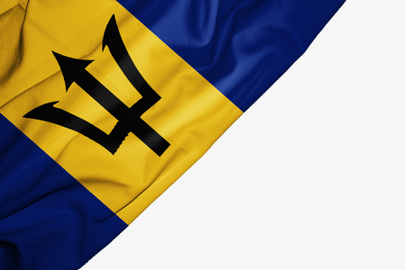 Barbados flag of fabric with copyspace for your text on white background