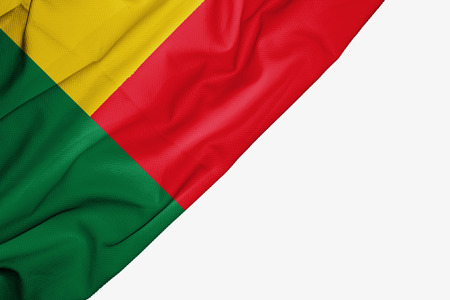 Benin flag of fabric with copyspace for your text on white background