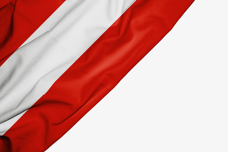 Austria flag of fabric with copyspace for your text on white background Stock Photo