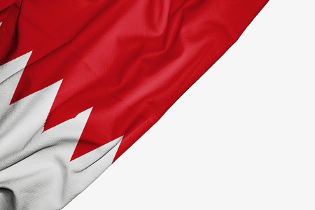 Bahrain flag of fabric with copyspace for your text on white background Stock Photo