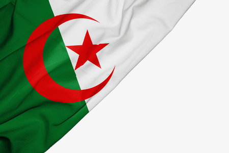 Algerian flag of fabric with copyspace for your text on white background