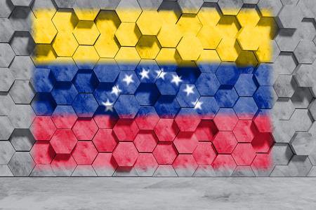 Venezuela flag on Hexagon Shaped Concrete Blocks Wall. Front view. 3D Illustration.