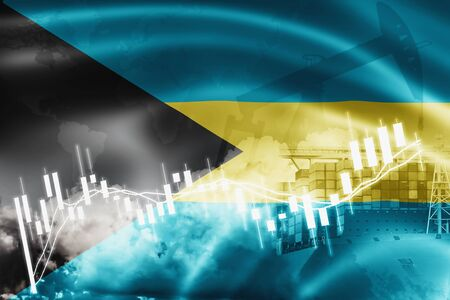Bahamas flag, stock market, exchange economy and Trade, oil production, container ship in export and import business and logistics. Stock fotó