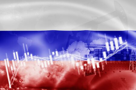 Russia flag, stock market, exchange economy and Trade, oil production, container ship in export and import business and logistics. Standard-Bild