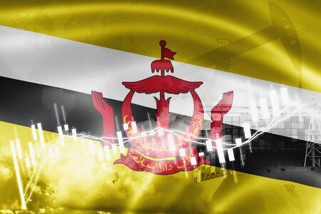 Brunei flag, stock market, exchange economy and Trade, oil production, container ship in export and import business and logistics.